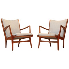 Original Hans Wegner for AP Stolen AP16 Lounge Chairs in Teak and Blue Wool
