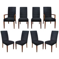 Rosewood and Suede Dining Chairs by Medea 'Italy', Set of Eight
