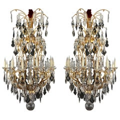 Important Pair of Chandeliers Attributed to H. Vian and Baccarat