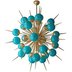 1 of 2 Huge Tiffany Turquoise Murano Glass and Brass Sputnik Chandeliers