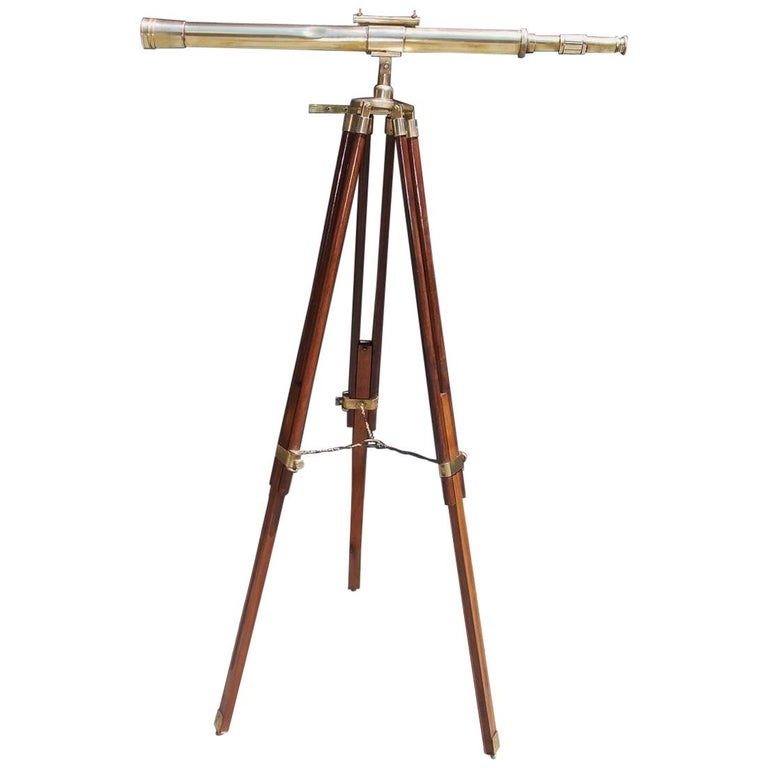 American Walnut Brass Telescope with Level Mounted on Tripod Stand, Circa 1870