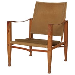 Kaare Klint Safari Chair in Canvas, Made by Rud Rasmussen, Denmark, 1960s