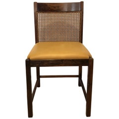 Pair of Brazilian Rosewood Chairs with Original Caned Backs and Leather Seats
