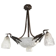 Art & Deco Wrought Iron & Glass 4-Light Pendant/Chandelier with 3 Stork Birds