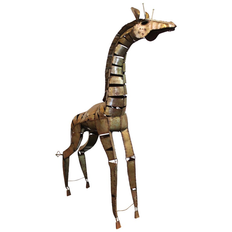 Brutalist Style Giraffe Sculpture in Welded Metal