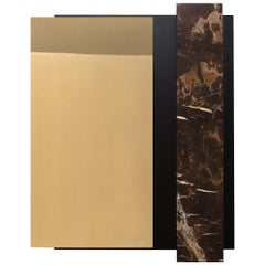 Contemporary Mirror or Wall Object in Brass, Marble and Black Oak