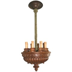 Rare and Decorative Early 1900s Eight-Light Quality Carved Nutwood Pendant Light
