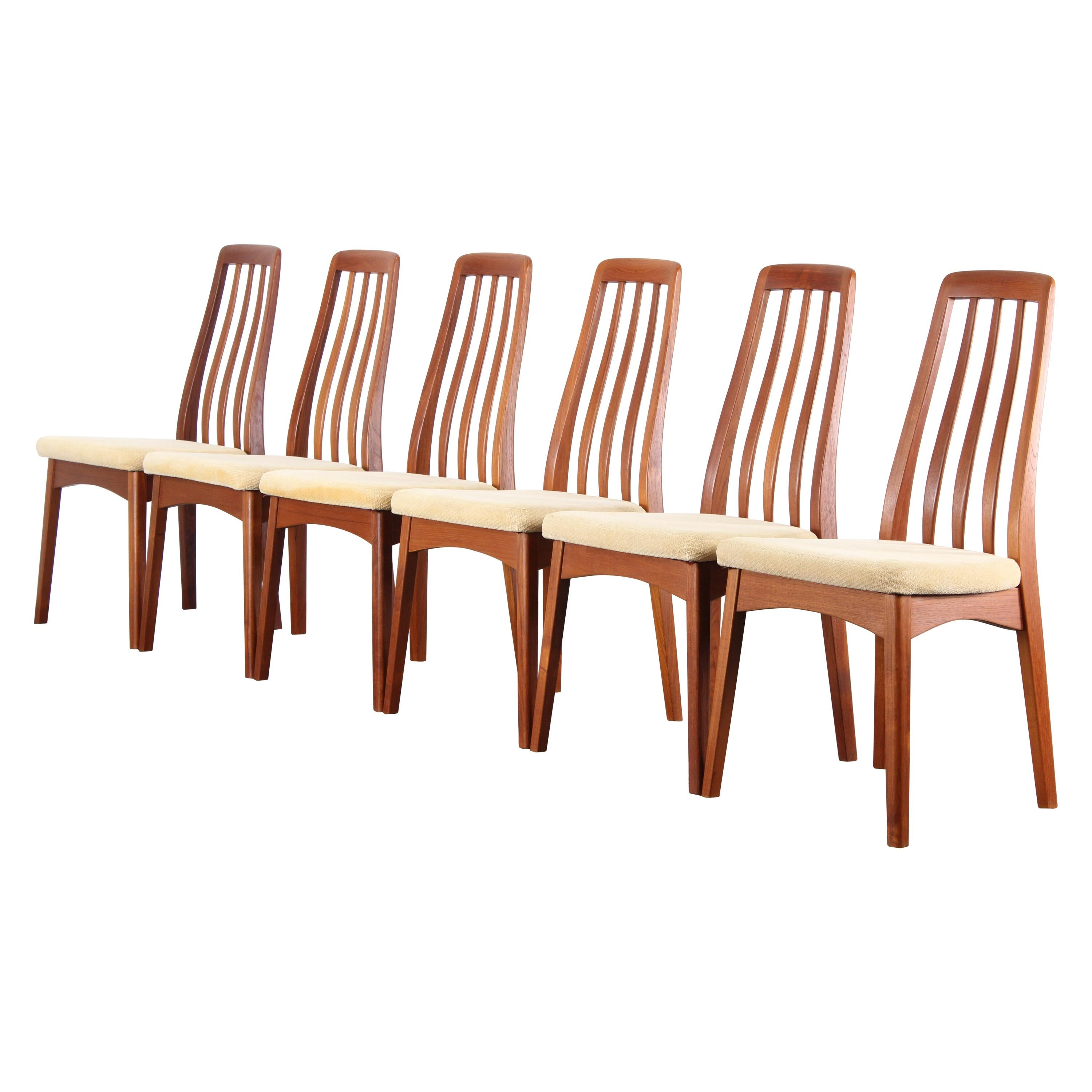 Set Of Six Benny Linden Danish Style Teak Dining Chairs, 1960s For Sale
