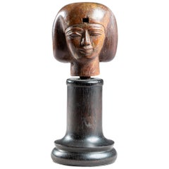Small Egyptian Wooden Head Covered in Flakes of Gold