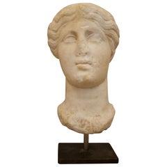 Feminine Hellenistic Marble Head, 3rd-2nd BCE
