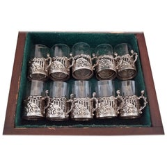 19th Century Set of Ten Sterling Silver Shot Glasses by W Comyn