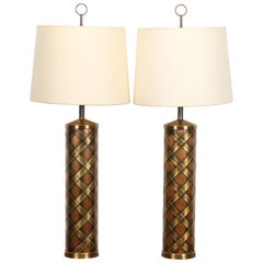Pair of Monumental Brass and Copper Weave Table Lamps, 1960s