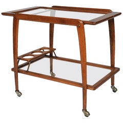 Italian Walnut Wood Trolley Bar Cart Attributed to Ico Parisi Mid-Century Modern