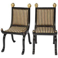 Pair of Italian Gilt Ram's Head Chairs