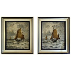 "Umberto Montini, Italian Paintings ""Sailboat"", Set of Two, 1940s"