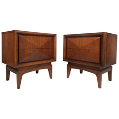 Pair of Midcentury Diamond Front Nightstands