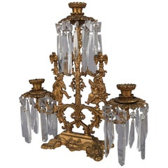 Antique French Gilt Metal and Crystal Figural Three-Light Girandole Candelabra