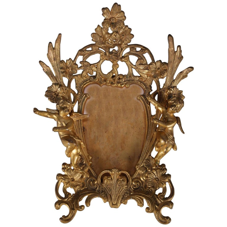 Antique French Rococo Figural Gilt Metal Cherub and Floral Picture Frame