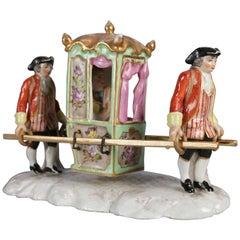 Antique German Meissen Hand-Painted & Gilt Porcelain Litter Figural Group