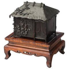 Signed Bronze Meiji Period Censor on Hard Wood Stand