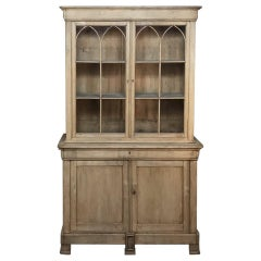 19th Century French Louis Philippe Stripped Oak Bookcase