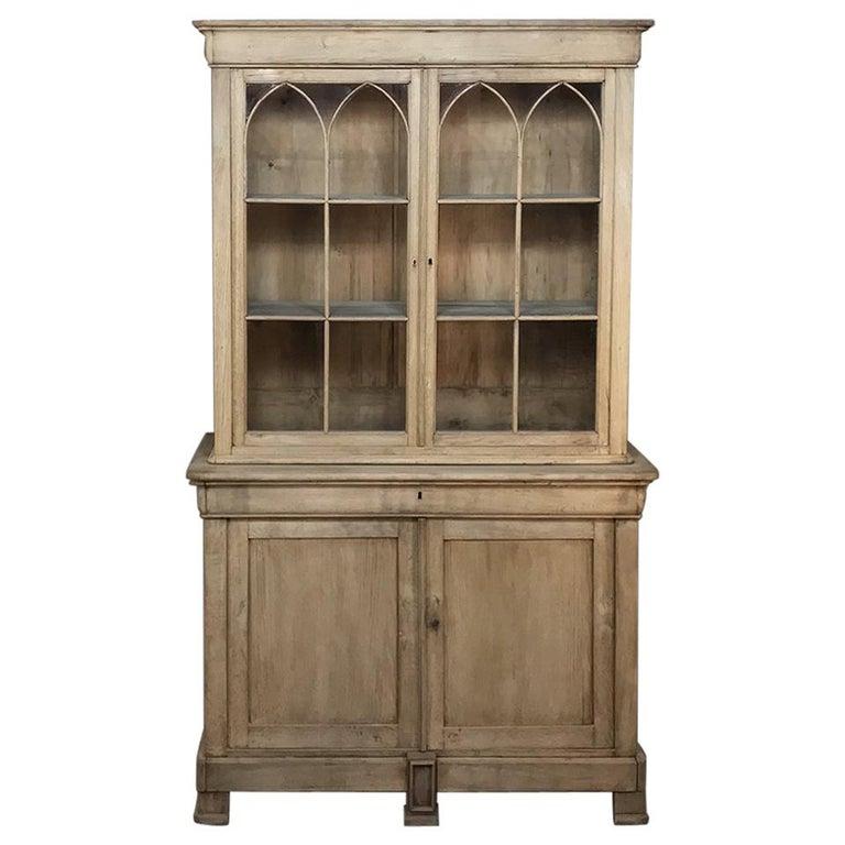 Louis Philippe Open Bookcase: Large Black Painted 1900s French Shop Oak Bookcase Cabinet