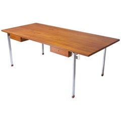 Rare Hans Wegner AT-325 Desk in Teak and Chrome-Plated Steel, Denmark, 1960s