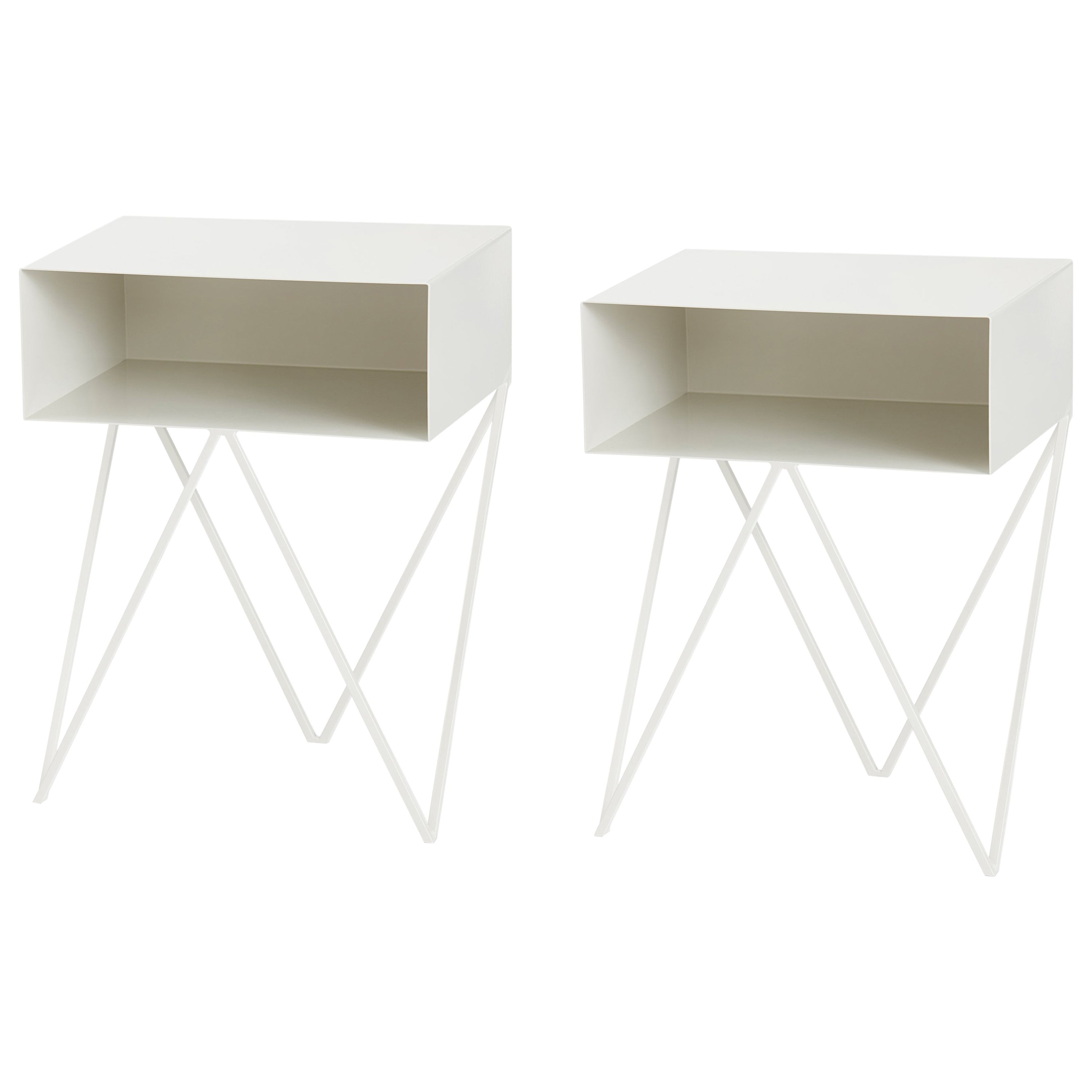 Pair of Paper White Powder Coated Steel Robot Bedside Tables