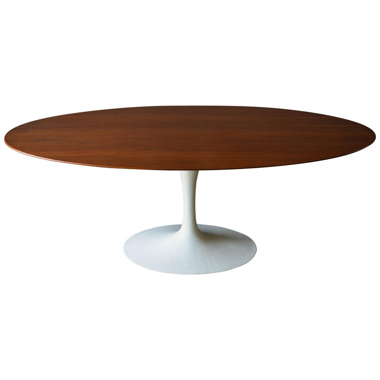 Walnut Oval Tulip Table by Eero Saarinen for Knoll, circa 1960
