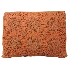 CLOSE OUT SALE: Vintage Orange Crochet Bolster Decorative Pillow