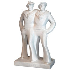 """Singing Sailors,"" Large, High-Spirited Art Deco Sculpture by Cazaux"