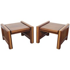 Pair of Matching Walnut 1970s Chunky End Tables