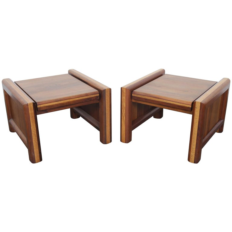 Pair of Matching Walnut 1970s Chunky End Tables For Sale