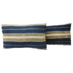 Pair of Vintage Indigo and Natural Yoruba and Baule Warp Decorative Pillows