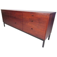 Midcentury Walnut Nine-Drawer Dresser