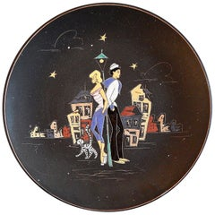 """""""Paris at Night,"""" Large Midcentury Platter or Low Bowl with Sailor and Blonde"""