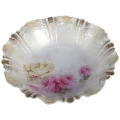 Antique R.S. Prussia Hand-Painted Floral, Gilt and Pearled Porcelain Bowl