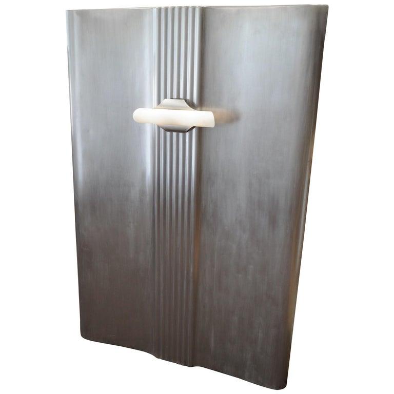 Headboard for Twin Single Bed, Industrial Wall Art: Deco Carrier Portal w/Light