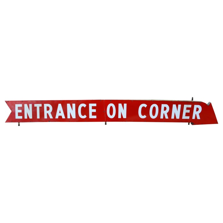 """Sign as Arrow with Paint on Metal, circa 1930s """"ENTRANCE ON CORNER"""""""