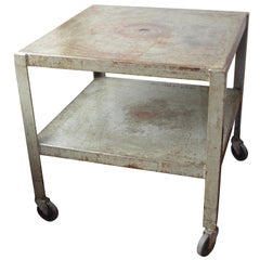 Industrial Work Table, Center Island, Steel Bar on Wheels from Midwest Factory