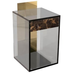 Contemporary Side Table or Shrine in Acrylic, Marble and Brass