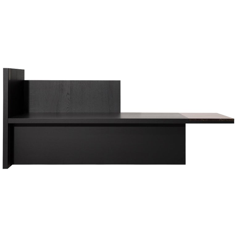 Contemporary Chaise Longue or Bench in Black Oak, Marble and Brass