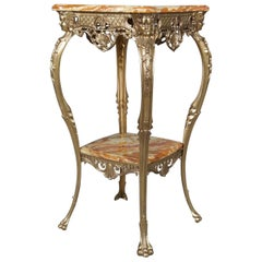 Antique French Egyptian Revival Figural Gilt Bronze and Marble Plant Stand