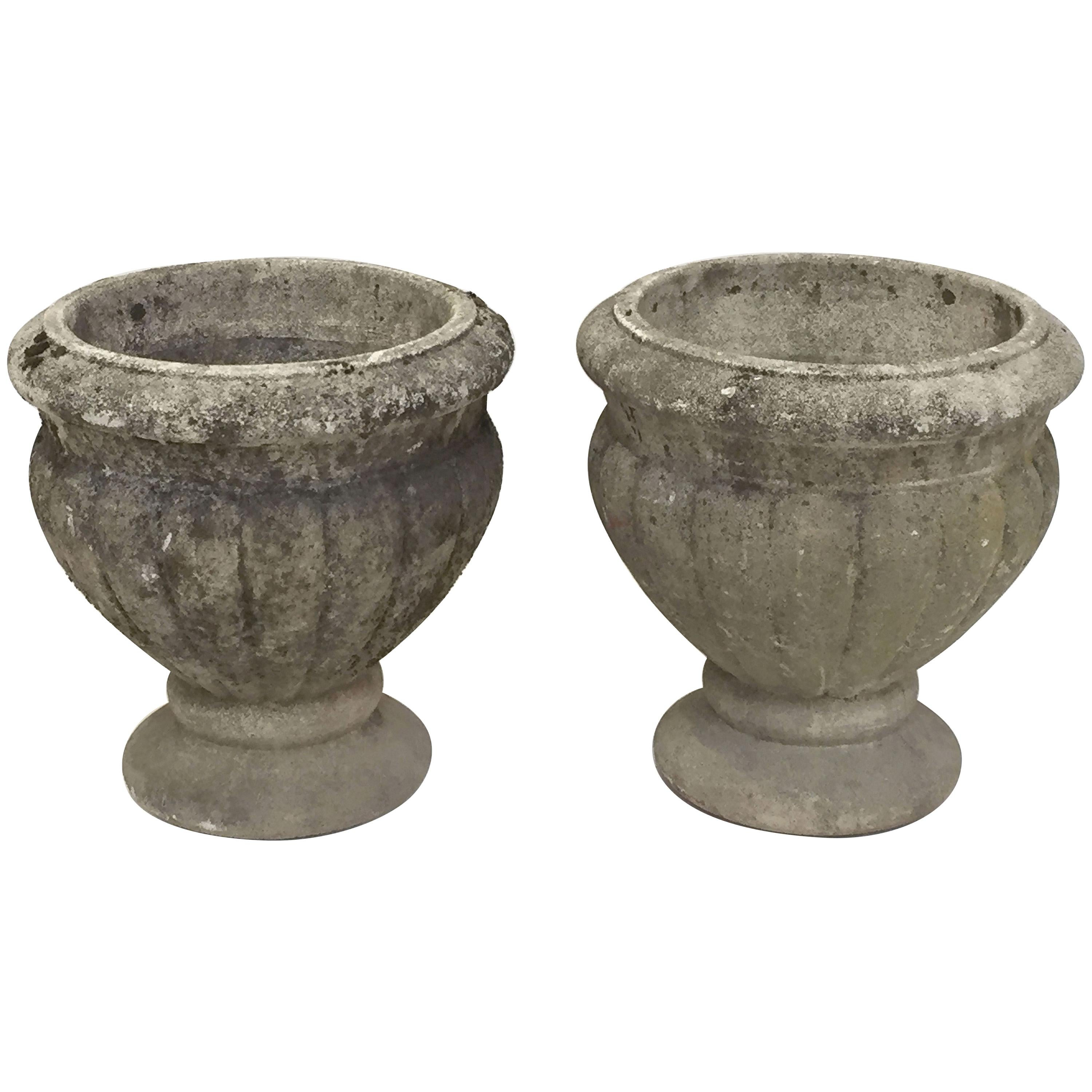 French Round Garden Stone Planters Or Urns U0027Individually Pricedu0027
