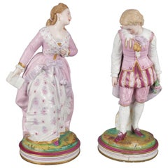 Pair of Italian Hand-Painted & Gilt Vincenzo-Bertolotti Porcelain Figurines