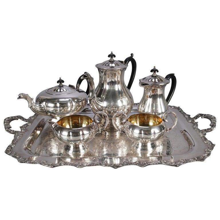 Six-Piece Marlboro Silver Plate Old English Reproduction E.P. Copper Tea Set