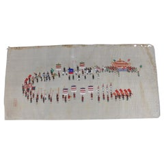 Antique Chinese Zhou Pei-Chun Ink and Color on Silk Official Parade, circa 1900