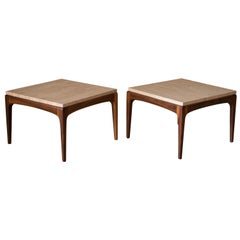 Classic Pair of Travertine and Walnut End Tables