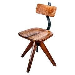 Vintage 1930s Swedish Solid Oak Industrial Swivel Chair