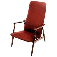 Retro Swedish Armchair in Dark Painted Bitch and Original Fabric